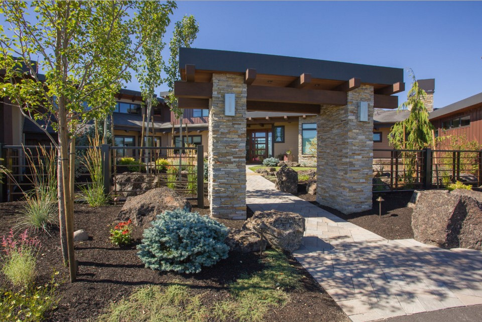 custom creative home sidewalk - contemporary highlands home in Bend, OR 2