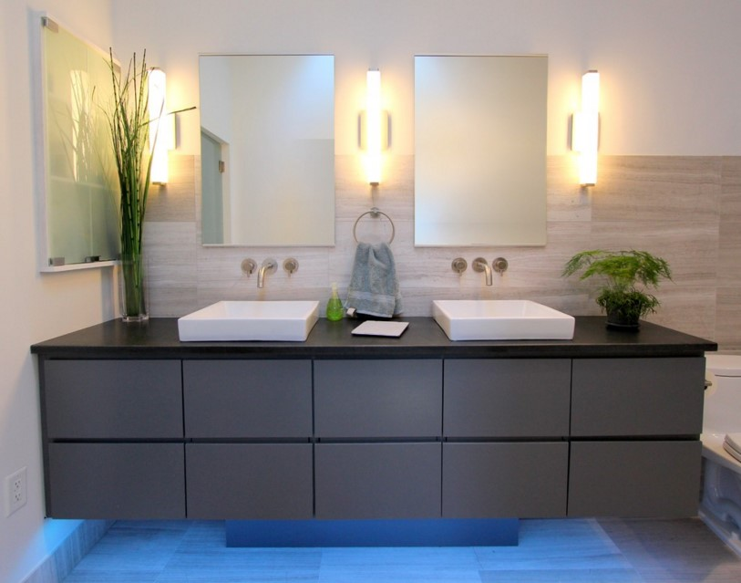 lighting on Cool Gray contemporary bathroom atlanta