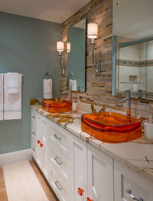 Colorful Class transitional bathroom