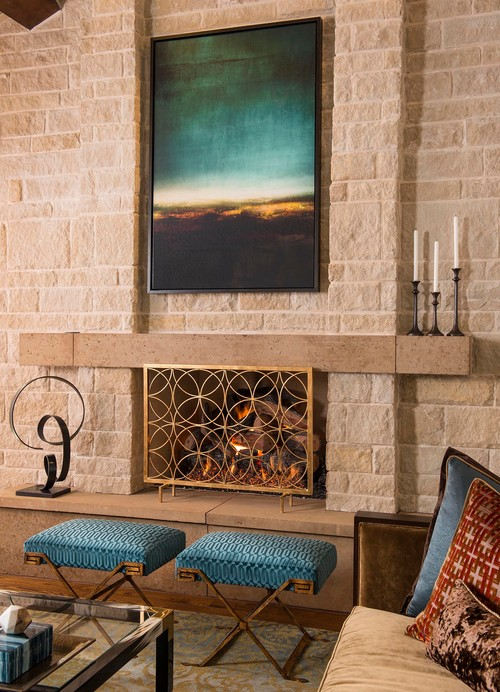 Colorful Class transitional fireplace design
