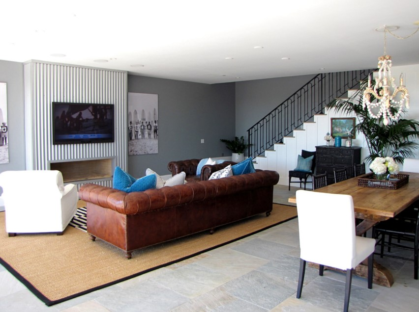 The Sandberg Home beach style family room orange county