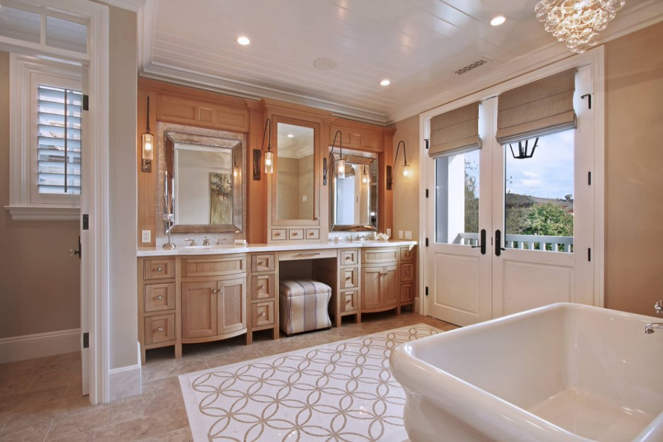 home on bayshores drive - beach style bathroom orange county
