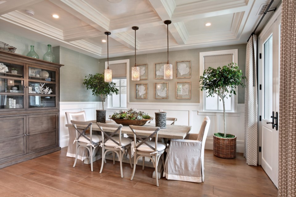 home on bayshores drive - beach style dining room orange county