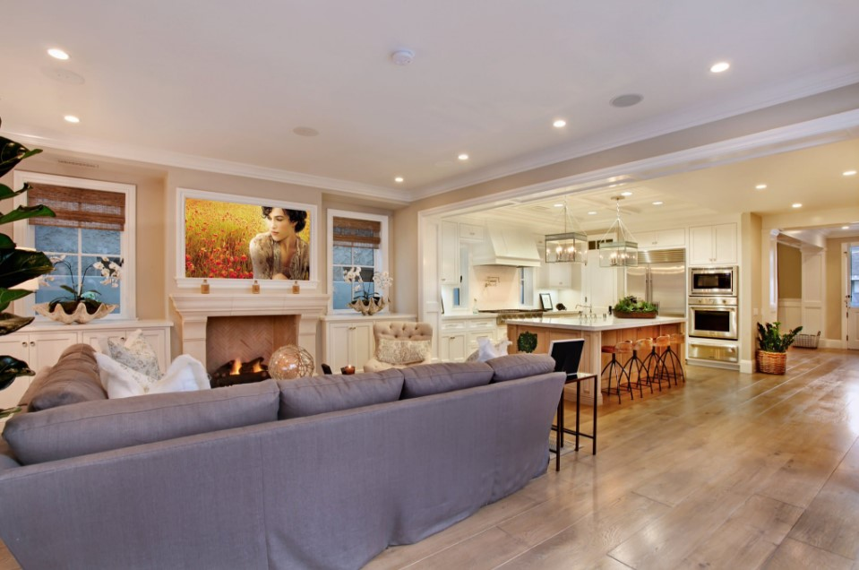 home on bayshores drive - beach style family room orange county