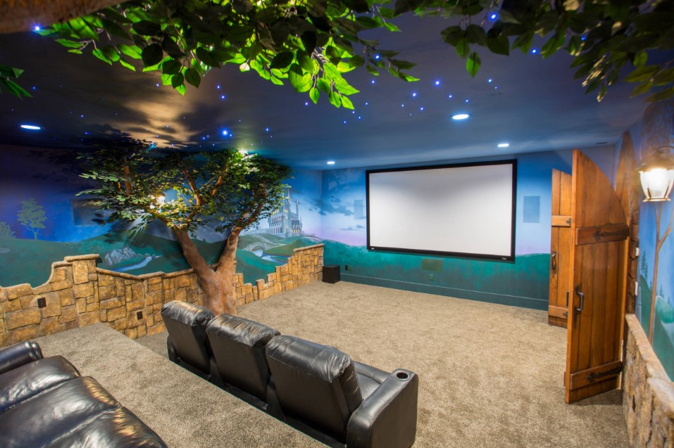 bradshaw residence eclectic home theater design - salt lake city