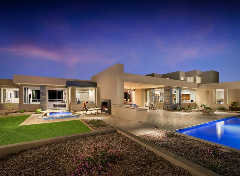 view modern house lights. The Entrance To Living Room Is Majestically Lit By Naked View Of Mummy And Camelback Mountains Surrounding Property. Modern House Lights